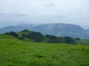 Blick vom Wandberg auf das Kaisergebirge